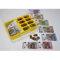 Spielgeldkoffer, 130 Scheine + 160 Münzen, im Kunststoffkoffer mit Einsatz