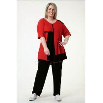 Lagenlook Baumwollpullover rot-schwarz