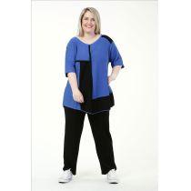 Lagenlook Pullover blau-schwarz