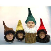 Mütze - Zwergenmütze - rot, grün, braun, beige - Zipfelmütze