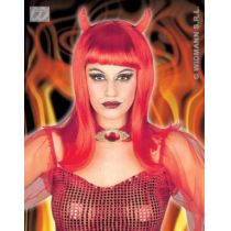 Perücke Teufelin mit Hörnern (Erwachsene) - Karneval Fasching