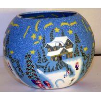 Kerzenfarm Leuchtglas XL Winter, Größe 15 cm, Teelicht