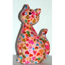 Pomme-Pidou Katze Caramel sitzend, rosa mit Herzen, Spardose