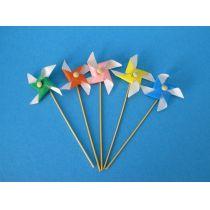 5 Windmuehlen bunt Puppenhaus Dekoration Spielzeug Miniaturen 1:12