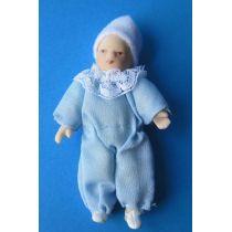Baby Junge hellblau Puppe für die Puppenstube Miniatur 1:12