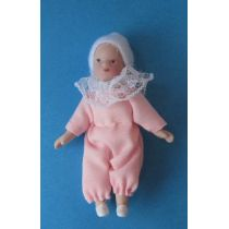 Baby Mädchen rosa Puppe für die Puppenstube Miniatur 1:12