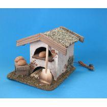 Backhaus mit LED Flackerlicht 3,5 V Puppenhaus Weihnachtskrippen Modellbau