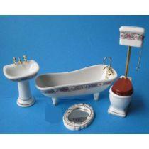 Badezimmer Rosendekor Ausstattung 4 Teile  Puppenmöbel 1:12