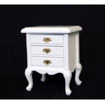 Beistelltisch Nachtschrank weiss Puppenhaus Möbel Wohnzimmer Miniatur 1:12