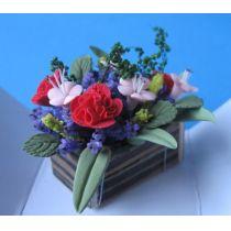 Blumenkasten bunte Frühlingsblumen Puppenhaus Miniaturen 1:12
