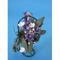 Blumenkorb lilia weisse Blüten Puppenhausdekoration Miniatur 1:12