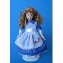 Blumenmädchen Alice blaues Kleid Puppe Puppenhaus Miniatur 1:12
