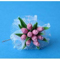 Blumenstrauss rosa Rosen Puppenhaus  Miniatur 1:12