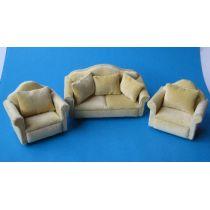 Couch Sofa Garnitur beige Puppenmöbel Miniatur 1:12
