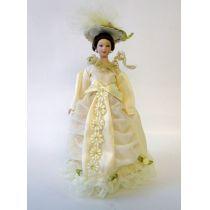 Dame Lady im beigen Blüten Kleid Puppe Miniatur 1:12