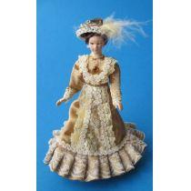 Dame Lady im eleganten beigen Kleid Puppe Miniatur 1:12