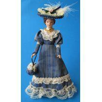 Dame Lady mit Handtasche im blauen Kleid Puppe Miniatur 1:12