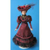 Dame Lady mit Hut im weinroten Kleid Puppe  Miniatur 1:12