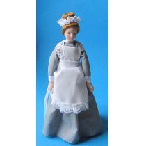 Dienstmädchen Magd im grauen Kleid für Puppenhaus Miniaturen 1:12