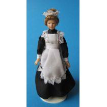 Dienstmädchen Magd Marie im schwarzen Kleid Puppenhaus Miniaturen 1:12