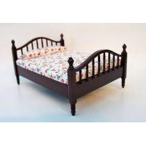 Doppelbett Holz  Puppenhausmoebel  Miniaturen 1:12