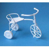Dreirad Fahrrad Metall weiss Puppenhaus  Miniaturen 1:12