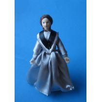 Elegante Puppe Dame Lady graues Kleid Puppenstube Miniatur 1:12