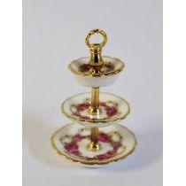 Etagere 3 Etagen Rosenband Puppenstuben Dekoration Miniatur 1:12