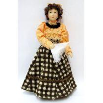 Frau Brigitte im karierten Rock Puppe für die Puppenstube Miniatur 1:12