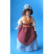 Frau Dienstmädchen Magd Personal für Puppenstube Miniatur 1:12