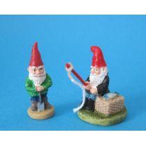 Gartenzwerge mit Angel und Spaten Puppenhaus Miniaturen 1:12