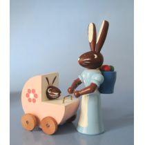 Hasenmutter mit Kinderwagen  5 cm Osterhasen Kinder Erzgebirge Seiffen