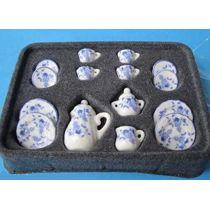 Kaffeeservice Teeservice blaue Blumen Puppenhaus Miniatur 1:12