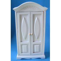 Kleiderschrank weiss 2 Türen Puppenhausmöbel 1:12