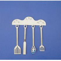 Kochutensilien Metall 5teilig Puppenhaus Küchen Miniaturen 1:12