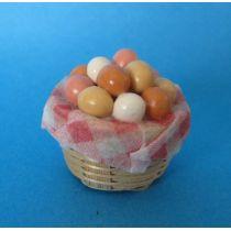 Korb mit Eier Küchen Puppenhausdekoration Miniatur 1:12