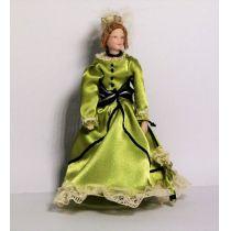 Lady Dame im gruenen Kleid Puppe Miniatur 1:12
