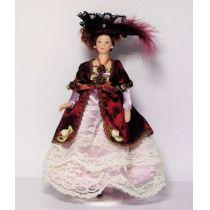 Lady mit Hut im weinroten Kleid Puppe Miniatur 1:12