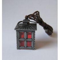 Laterne Zinn rote Scheiben 3,5V Puppenhaus, Krippen, Miniaturen