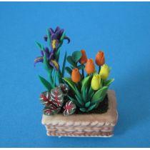 Lilien und Tulpen im Blumenkasten Puppenhaus Dekoration Miniatur 1:12
