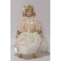 Mädchen Blumenkind im Spitzenkleid Puppe für Puppenhaus Miniatur 1:12