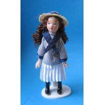 Mädchen im Matrosen Kleid mit Hut  Puppe  Miniatur 1:12