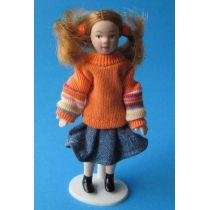 Mädchen mit Zöpfen 11cm gross  Puppe für Puppenhaus Miniatur 1:12