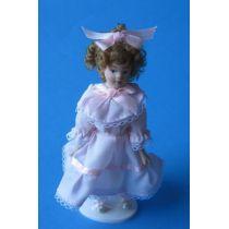 Mädchen Veronica mit festlich rosa Kleid Puppenhaus Miniatur 1:12