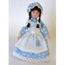 Mädchen Zofe Magd mit Zöpfen Puppe für Puppenhaus Miniatur 1:12