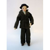 Mann Herr mit Hut im Anzug Puppe für Puppenstube Miniaturen 1:12