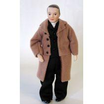 Mann mit Mantel Puppe für die Puppenstube Miniaturen 1:12