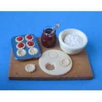 Mini Backblech Kekse mit Zutaten 5 Teile Dekoration Miniatur 1:12