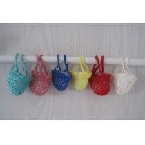Mini Einkaufsnetz Tasche mit Bogenrand gehäkelt Puppenhaus Miniatur Handarbeit