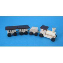 Mini Eisenbahn mit Lok und Waggon natur Dekoration Miniaturen 1:12